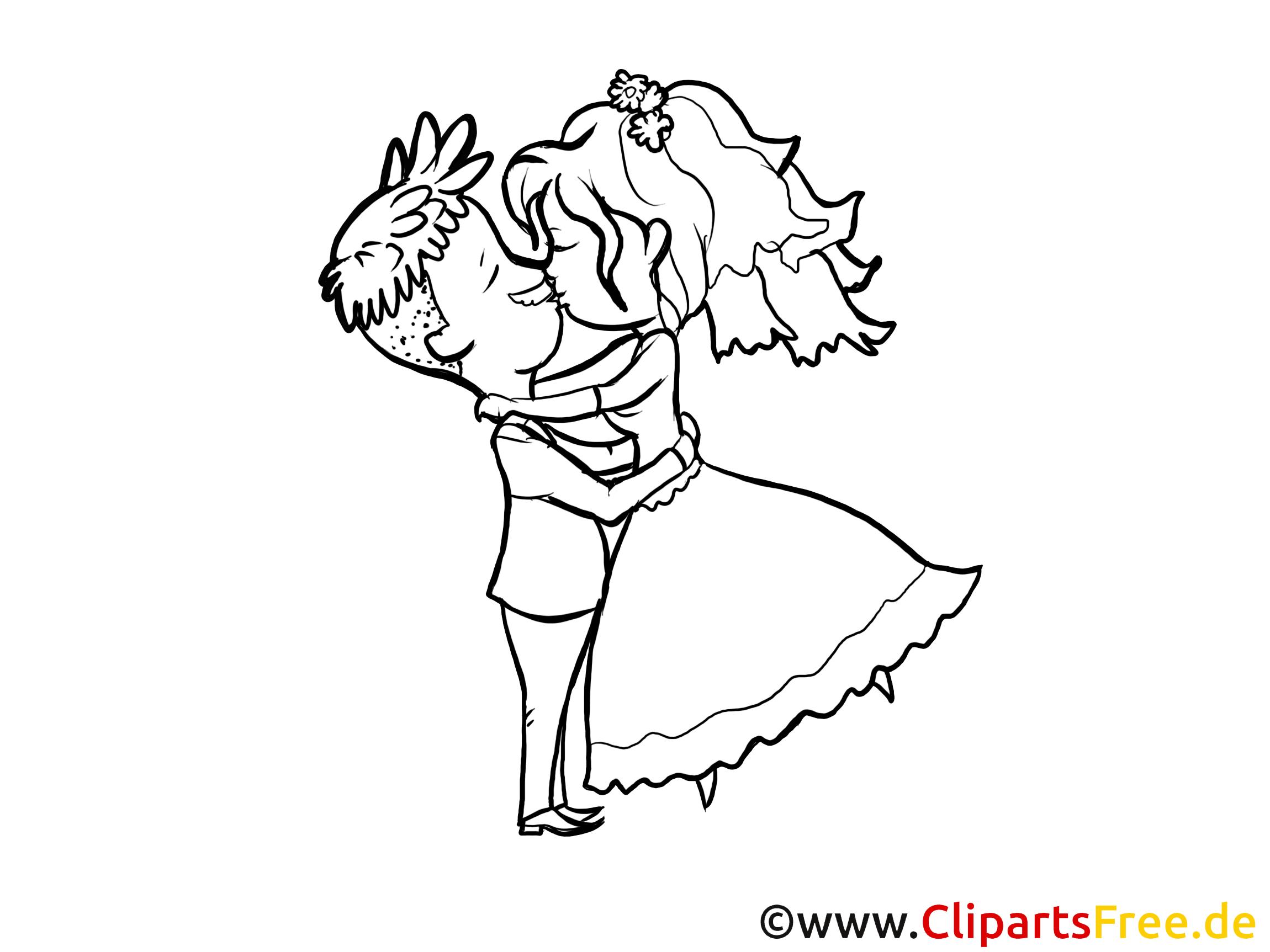 Bildtitel: Brautpaar küssen Clipart zur Hochzeit