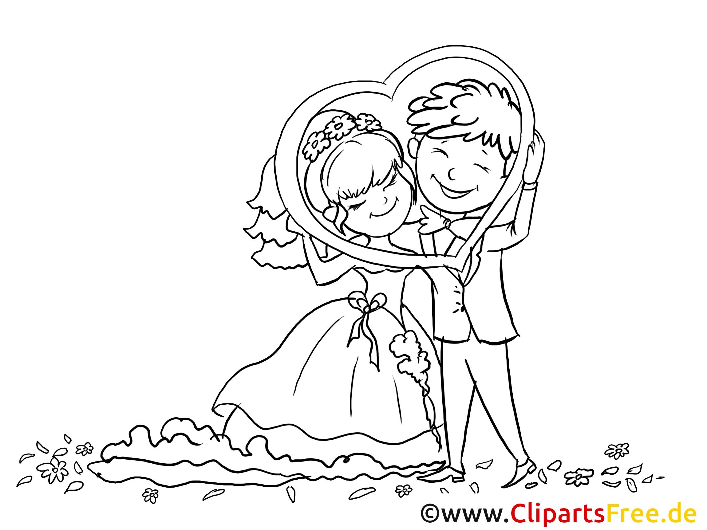 Brautpaar Mit Herzrahmen Bild Zeichnung Clipart Gratis