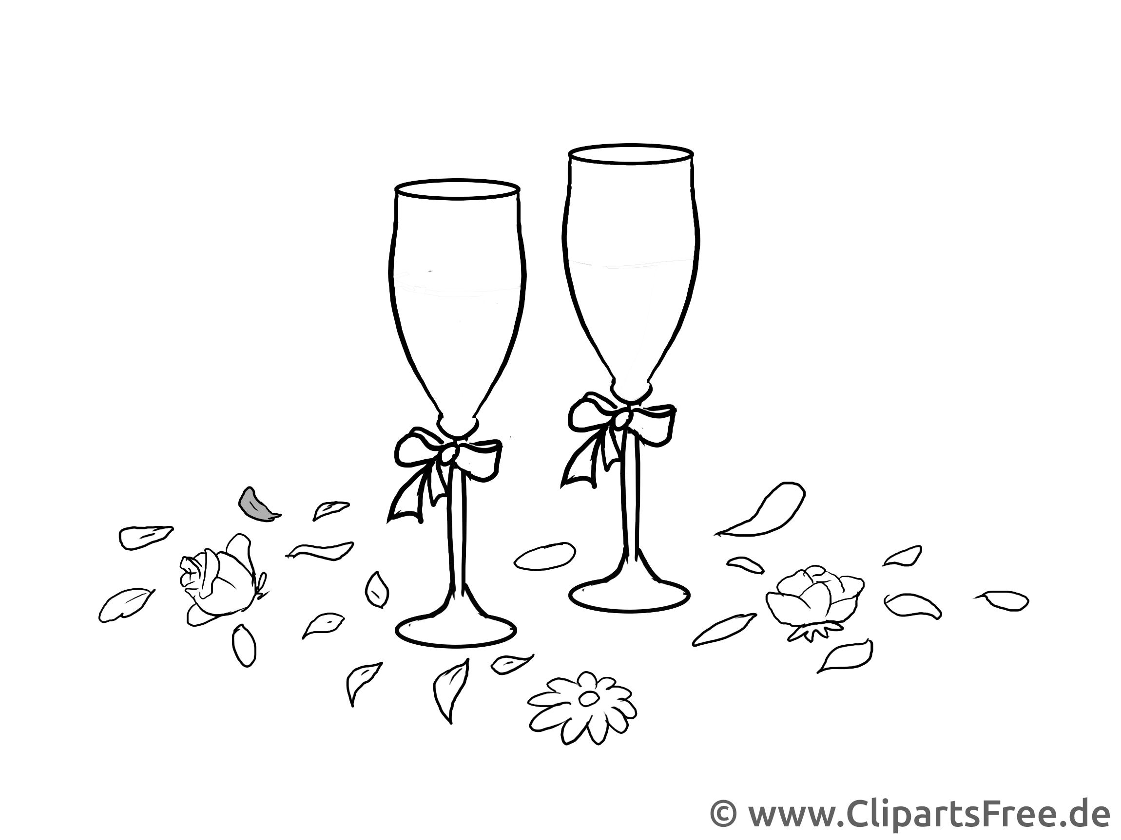 Champagnergläser Illustration, Clipart, Grafik schwarz-weiß