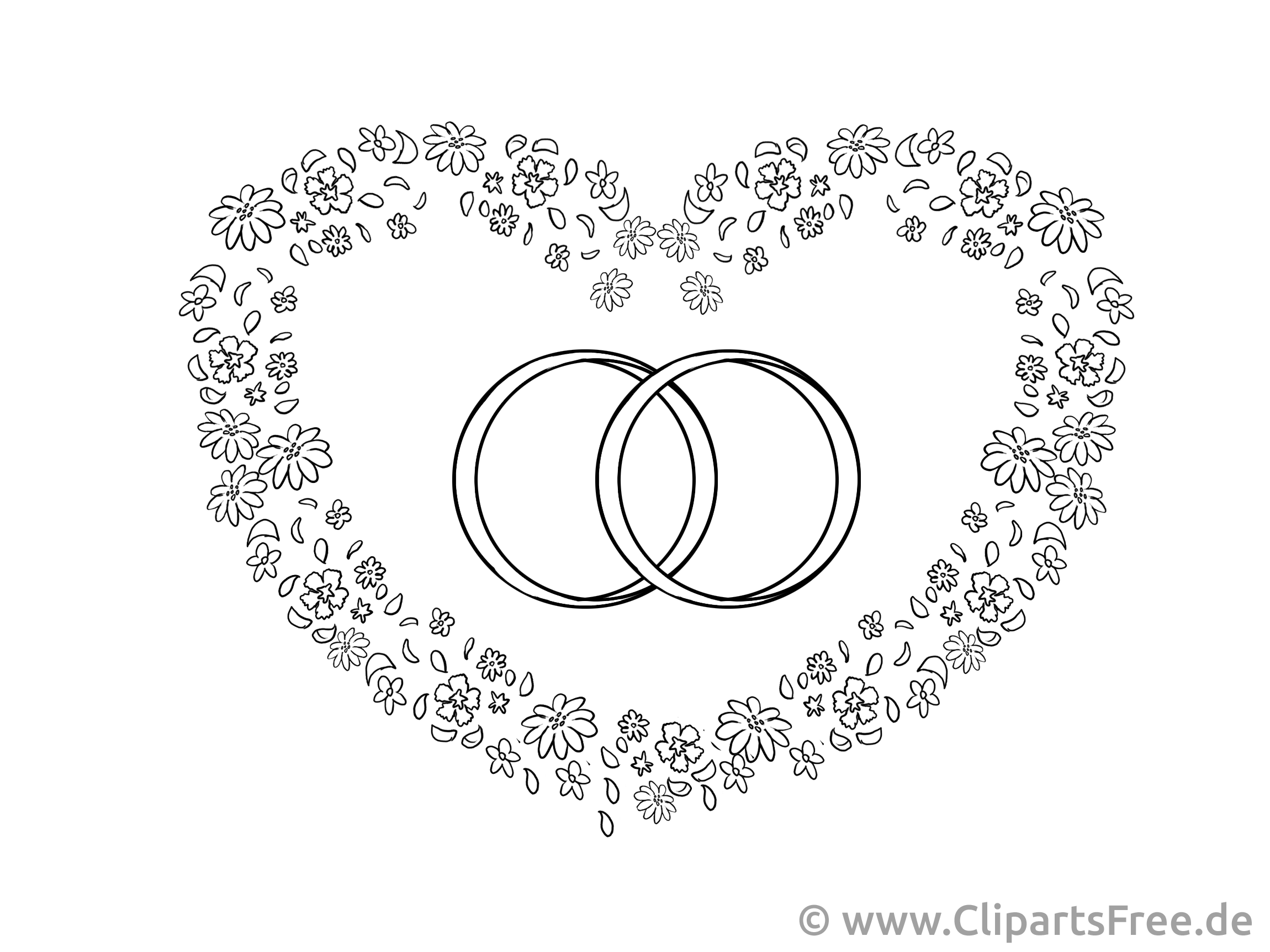 Heart and wedding rings drawing, clipart, picture for free