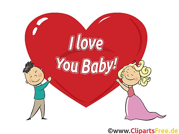 I love you baby - Clip Art, e-Card, Cartoon, Comic