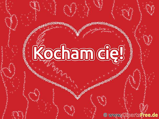 Ich liebe dich Polnisch Grusskarte, Clipart, GB Bild, Grafik