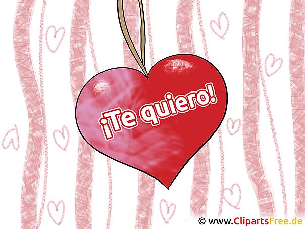 Frohe Weihnachten Ich Liebe Dich.Ich Liebe Dich Spanisch Grusskarte Clipart Gb Bild Grafik Cartoon