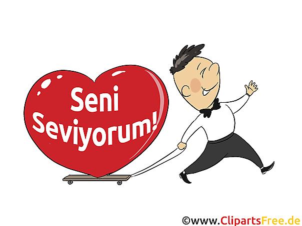 Ich liebe dich Türkisch Grusskarte, Clipart, Grafik, E-Karte