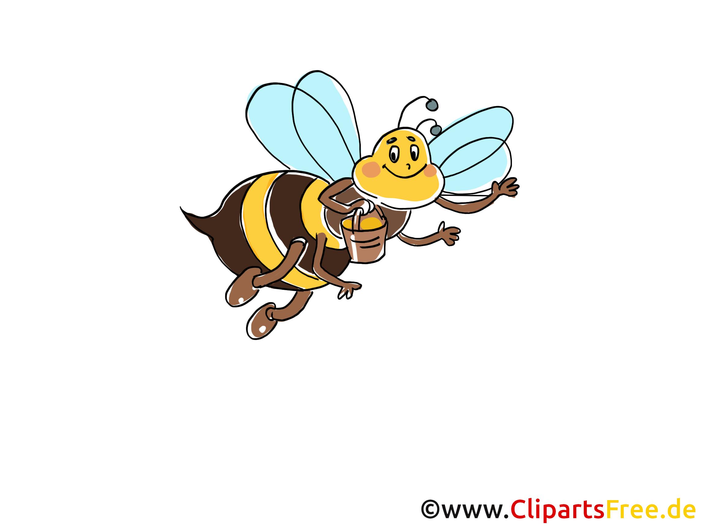Biene sammelt Honig Bild, Comic, Cartoon, Clipart gratis