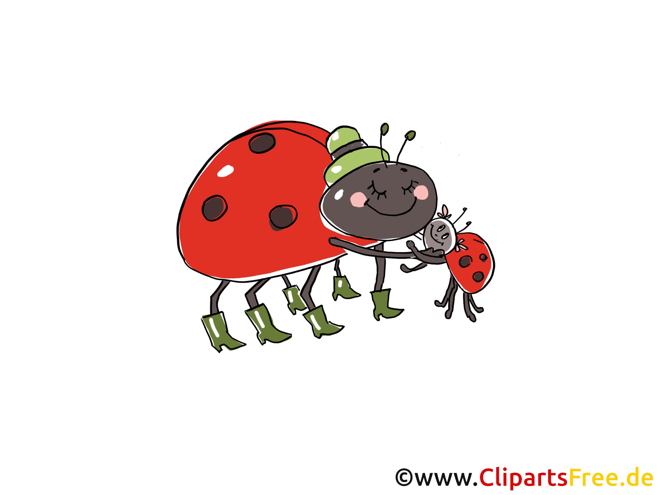 Ladybeetles Comic, Cartoon, Clipart, Bild, Zeichnung, Illustration gratis