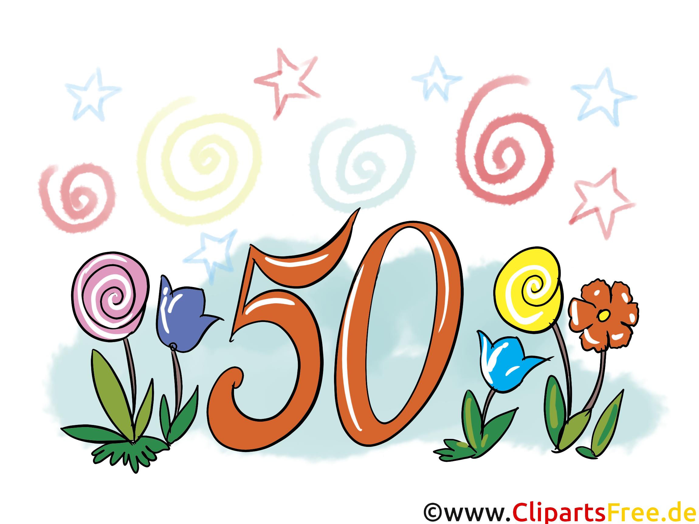 50年周年記念グリーティングカード、クリップアート、画像、おめでとう無料