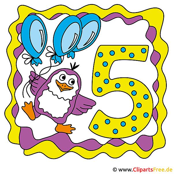 5年誕生日カード、クリップアート