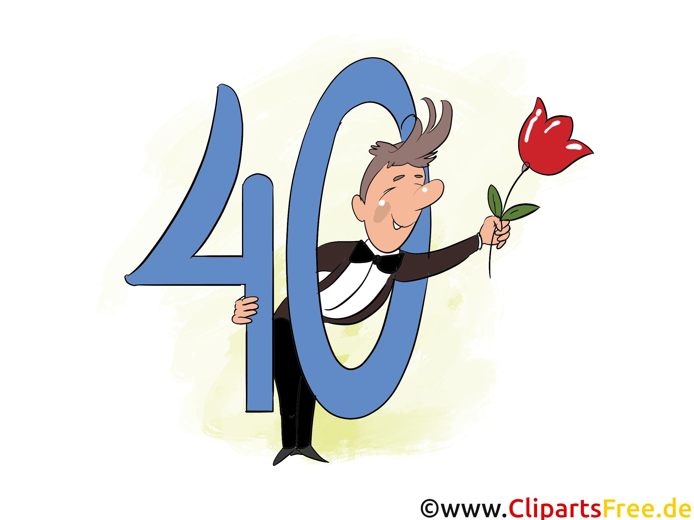 eカード40年誕生日グリーティング、お祝い、お祝い、招待状 - テンプレート