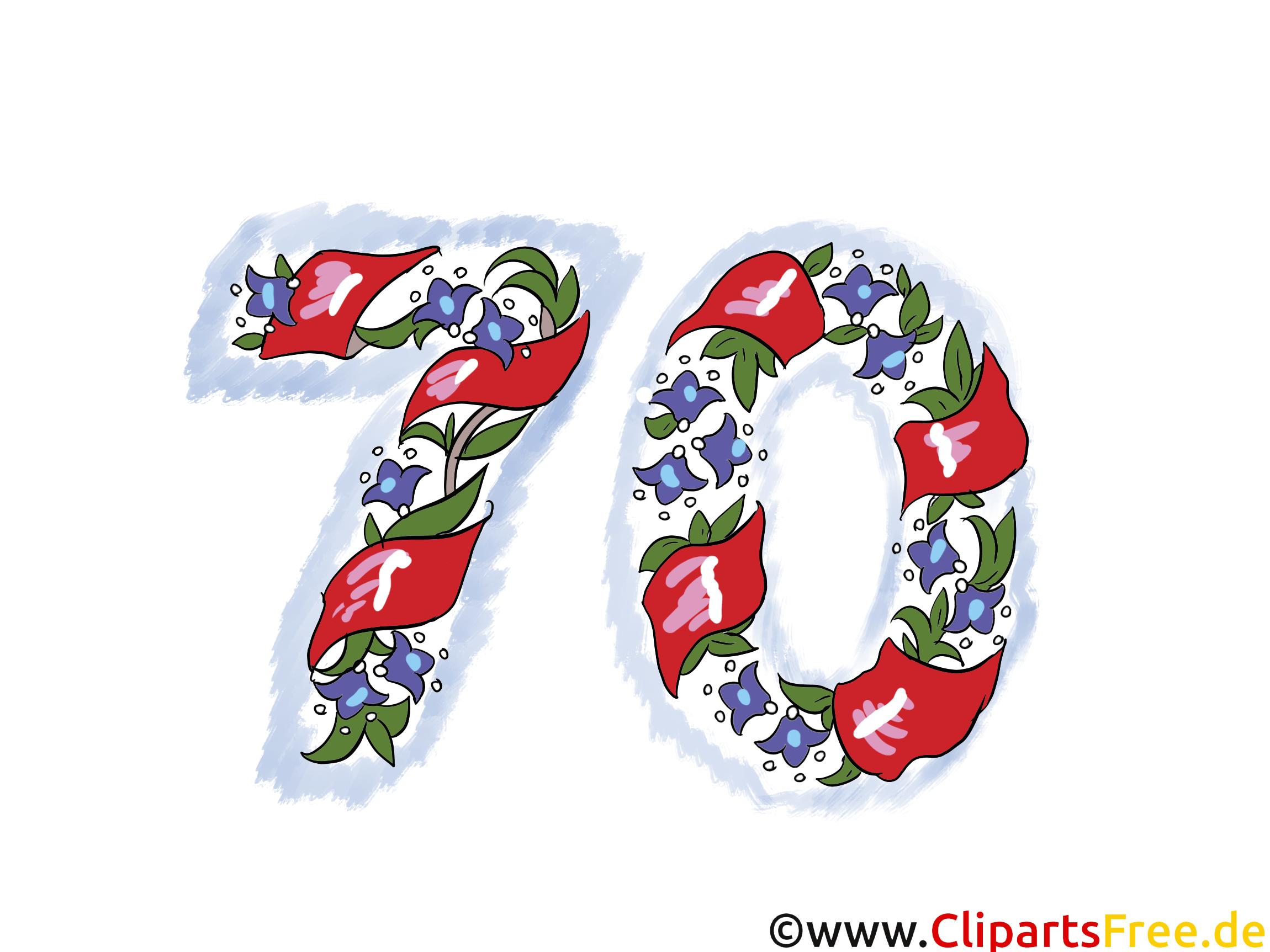 Geburtstag Wünsche 70 Jahre - Clipart Vorlage für Wunschkarte, Einladung, Danksagung
