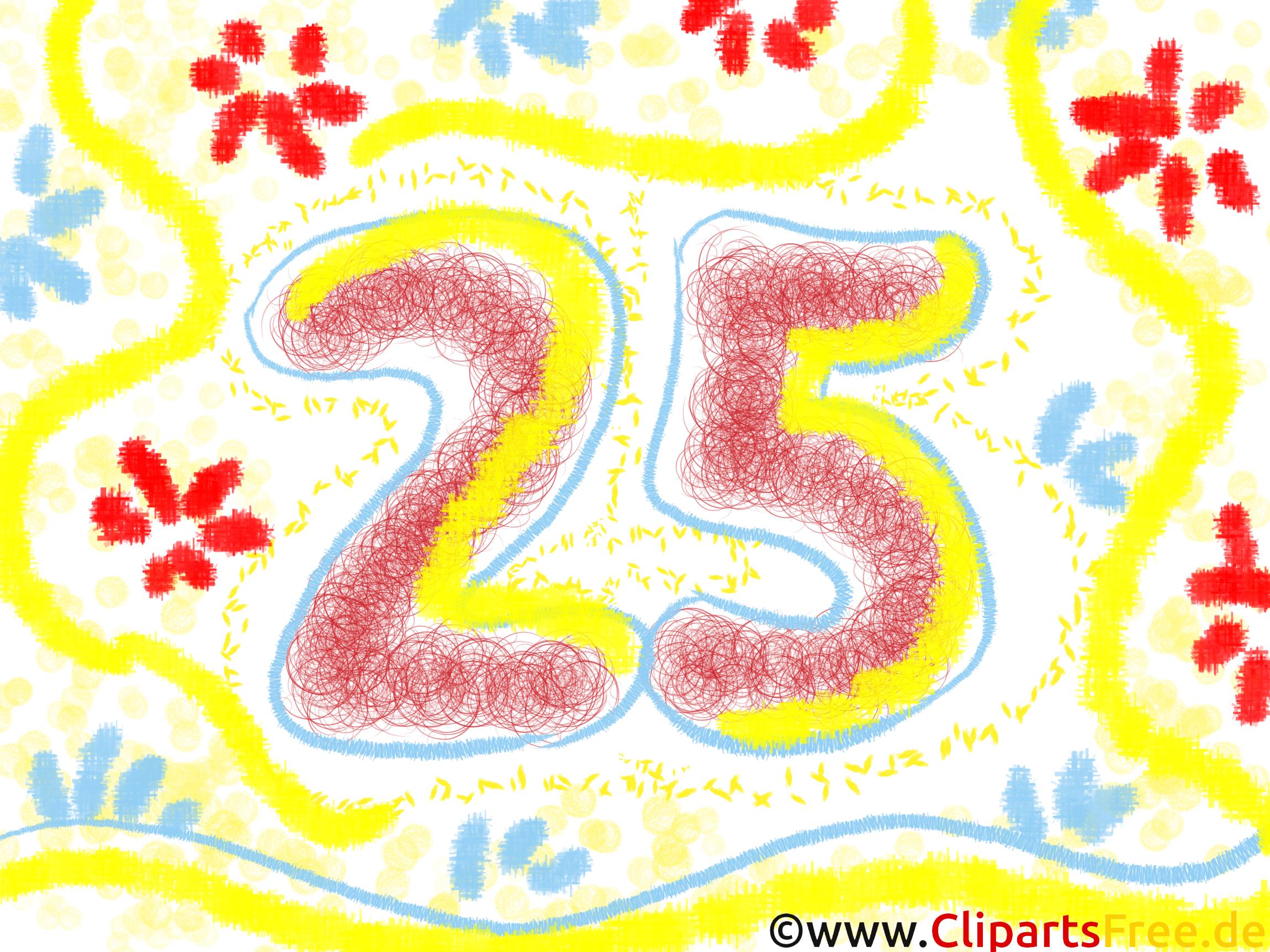誕生日カード25年、クリップアートの誕生日、絵、グラフィック