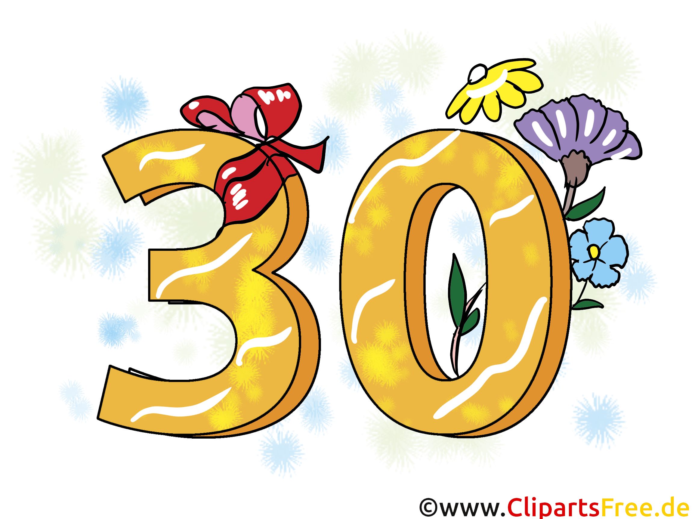 geburtstagssprüche 30 jahre - clipart, grusskarte, Einladung