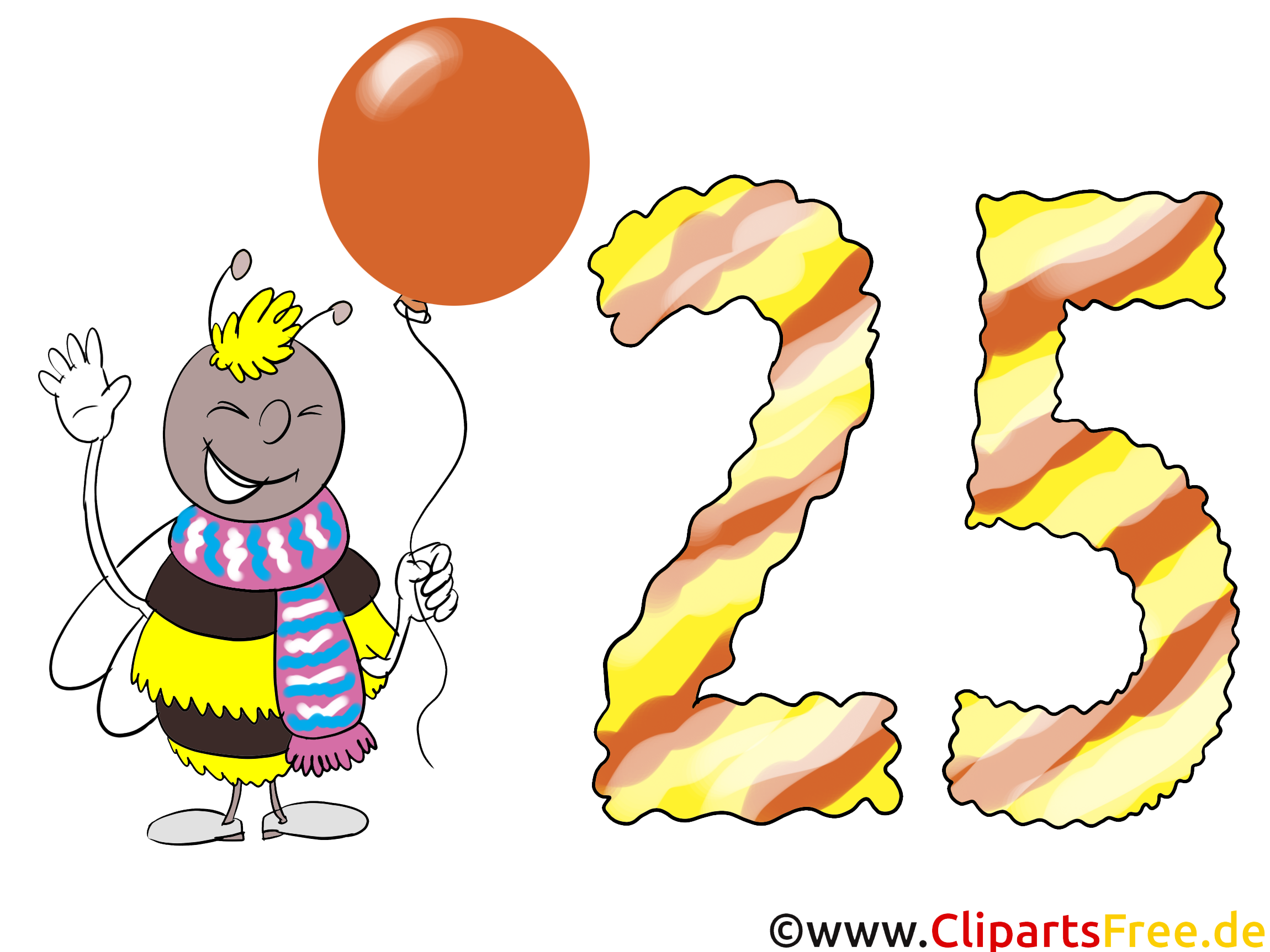 Geburtstagsw nsche zum 25 geburtstag karte clipart bild gratis - Geburtstagsbilder zum 25 ...