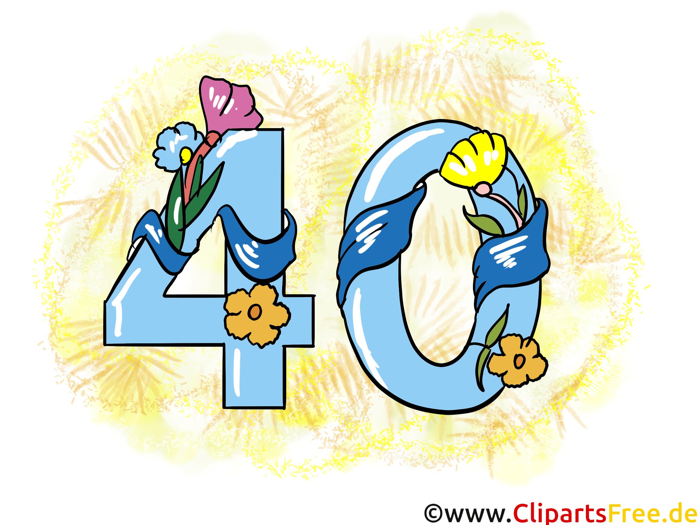 Glückwunsch 40 Jahre Clipart Grusskarte Glückwunschkarte Ecard