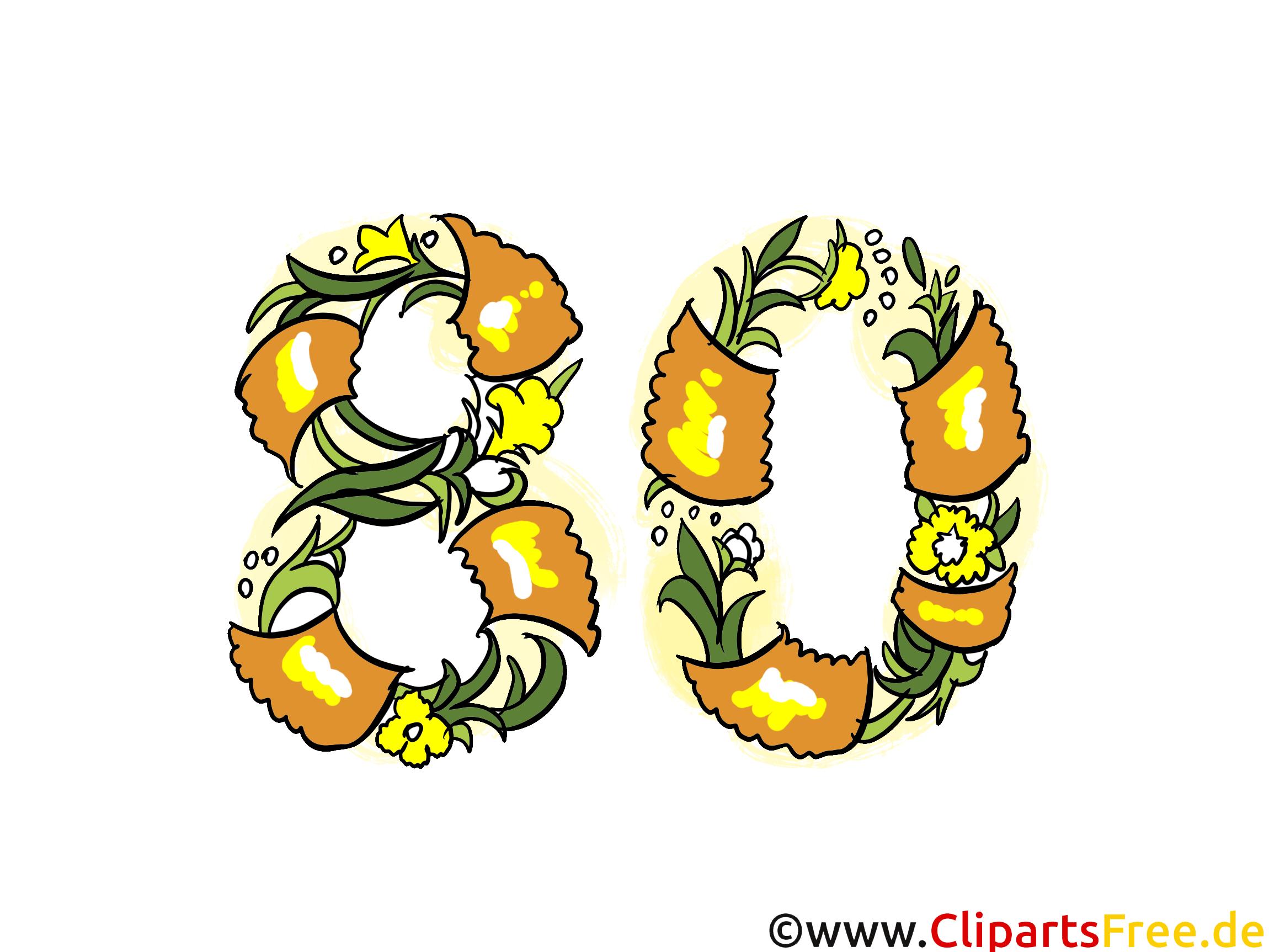 Gluckwunschkarte 80 Jahre Jubilaum Clipart Bild Ecard Grafik
