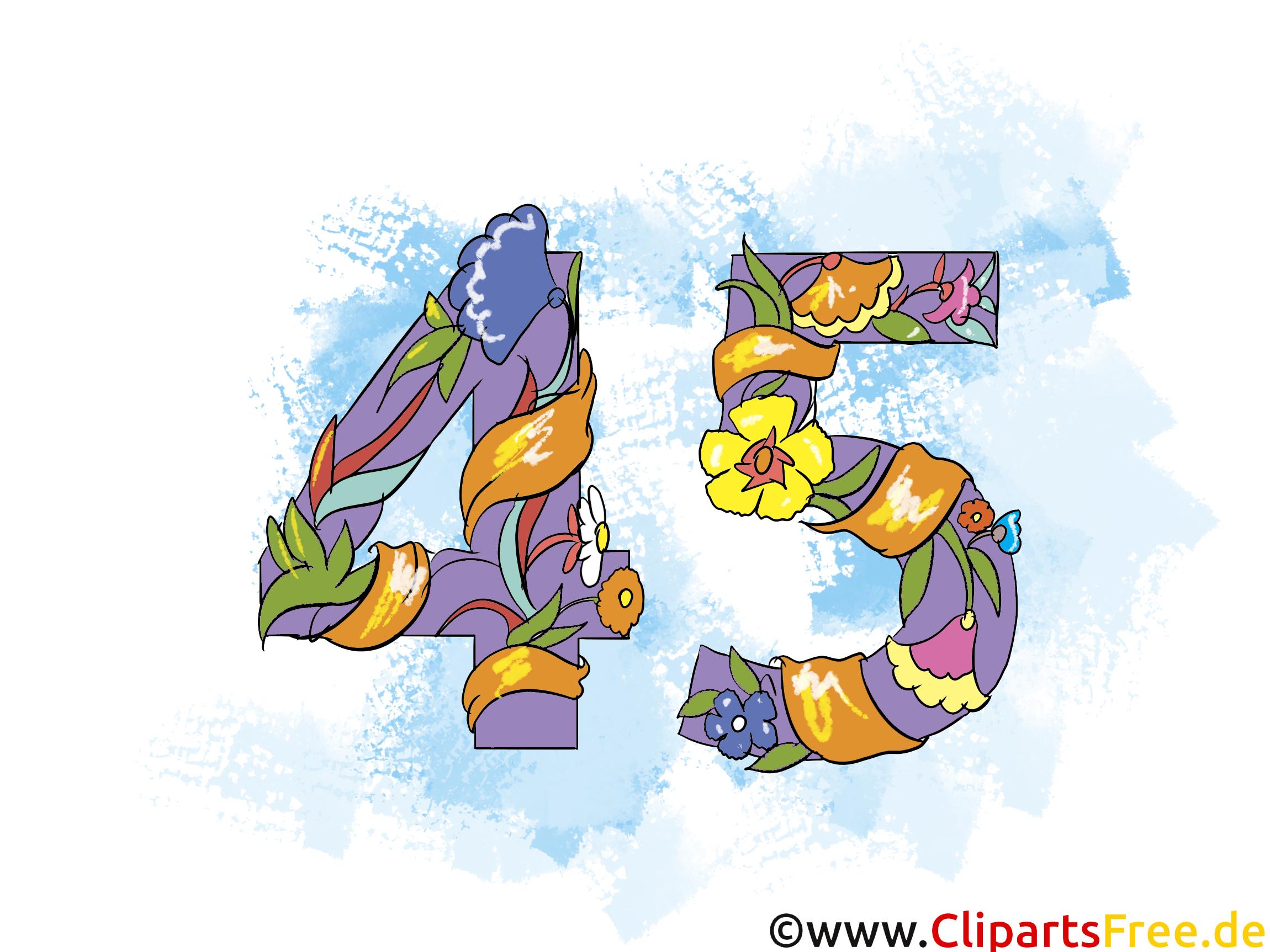 gratulieren zum geburtstag 45 jahre - clipart, grusskarte, Einladung