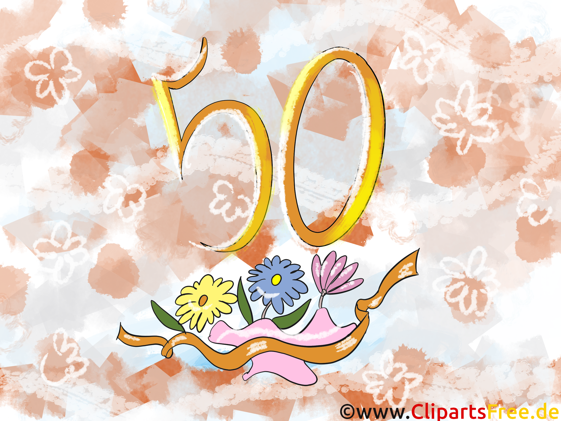 happy birthday 50 jahre geburtstagsgruss clipart bild karte. Black Bedroom Furniture Sets. Home Design Ideas