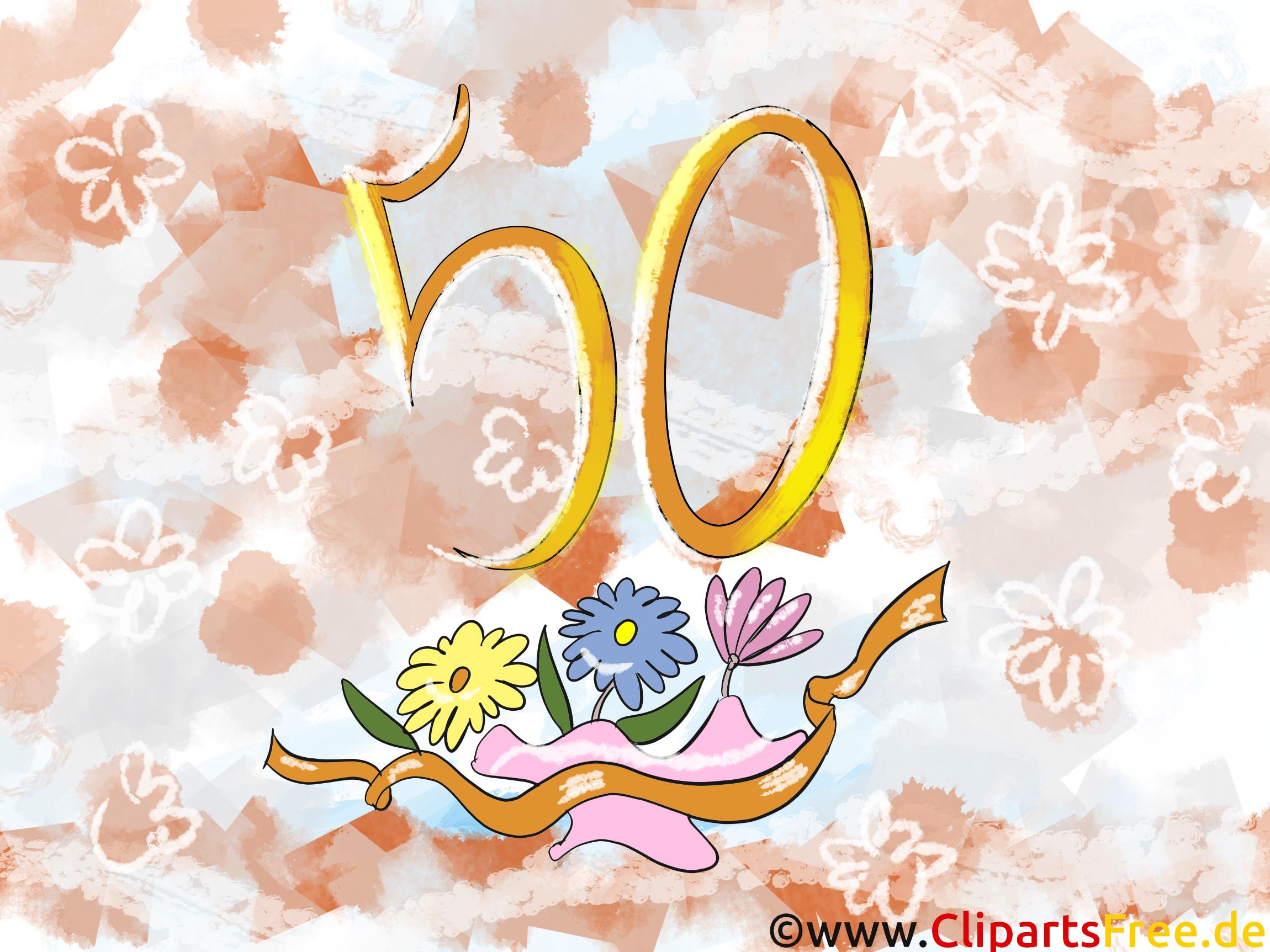 お誕生日おめでとうございます50年誕生日グリーティングカード、クリップアート、絵、カード