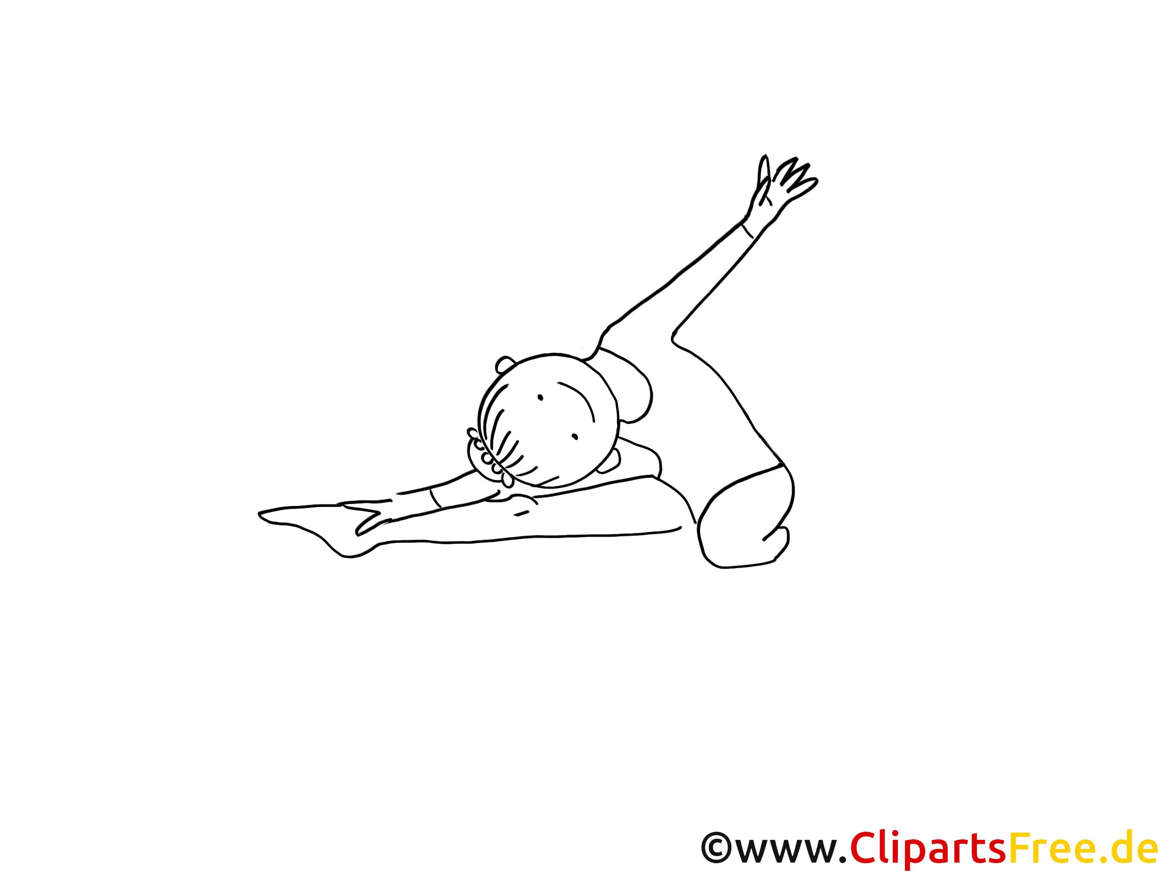 Gymnastik Zeichnung schwarz-weiss, Bild, Clipart, Comic, Cartoon zum Ausmalen