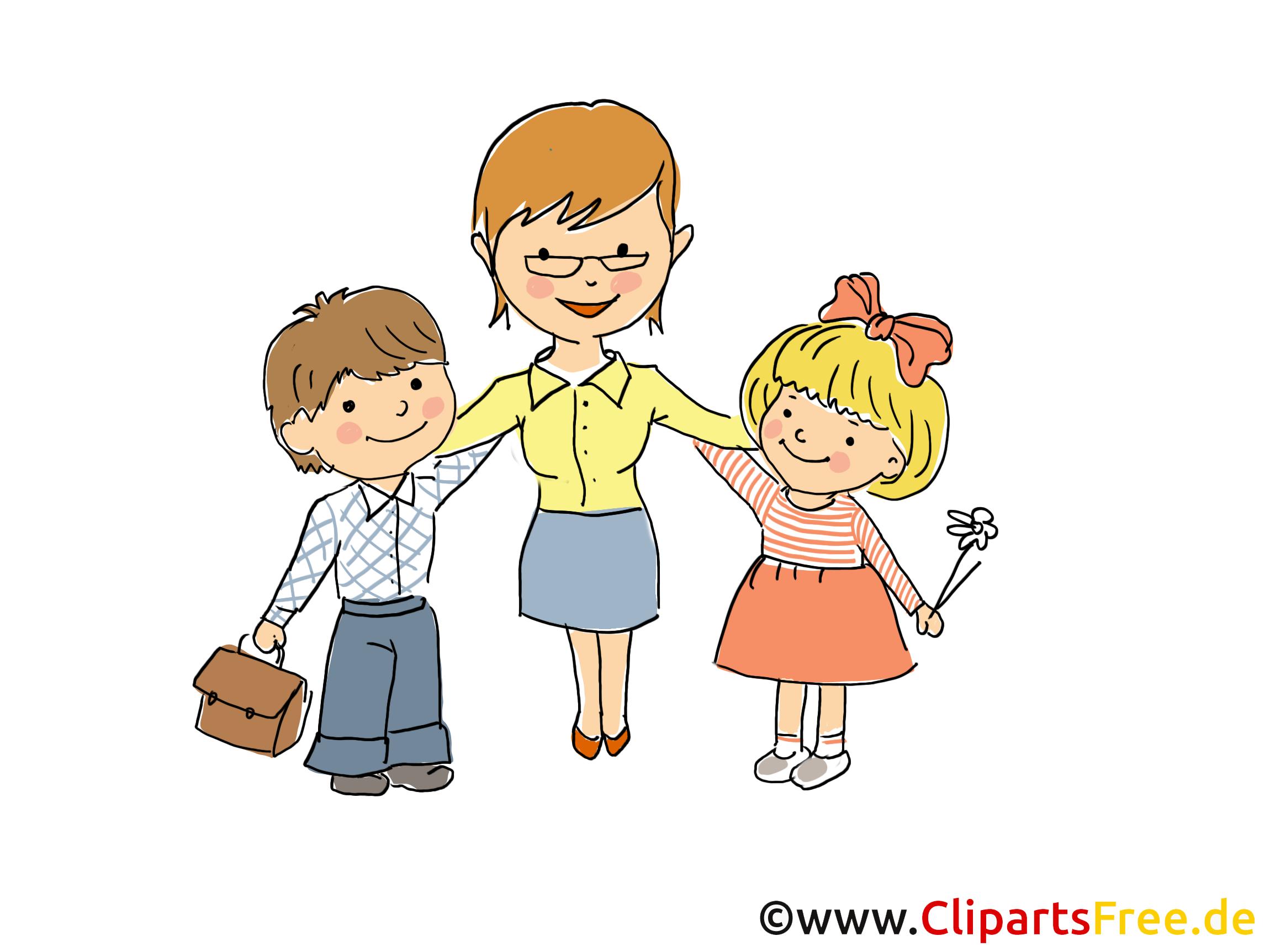 Erzieherin mit Kindern in KiGa Bild, Clipart, Cartoon, Grafik, Comic ...
