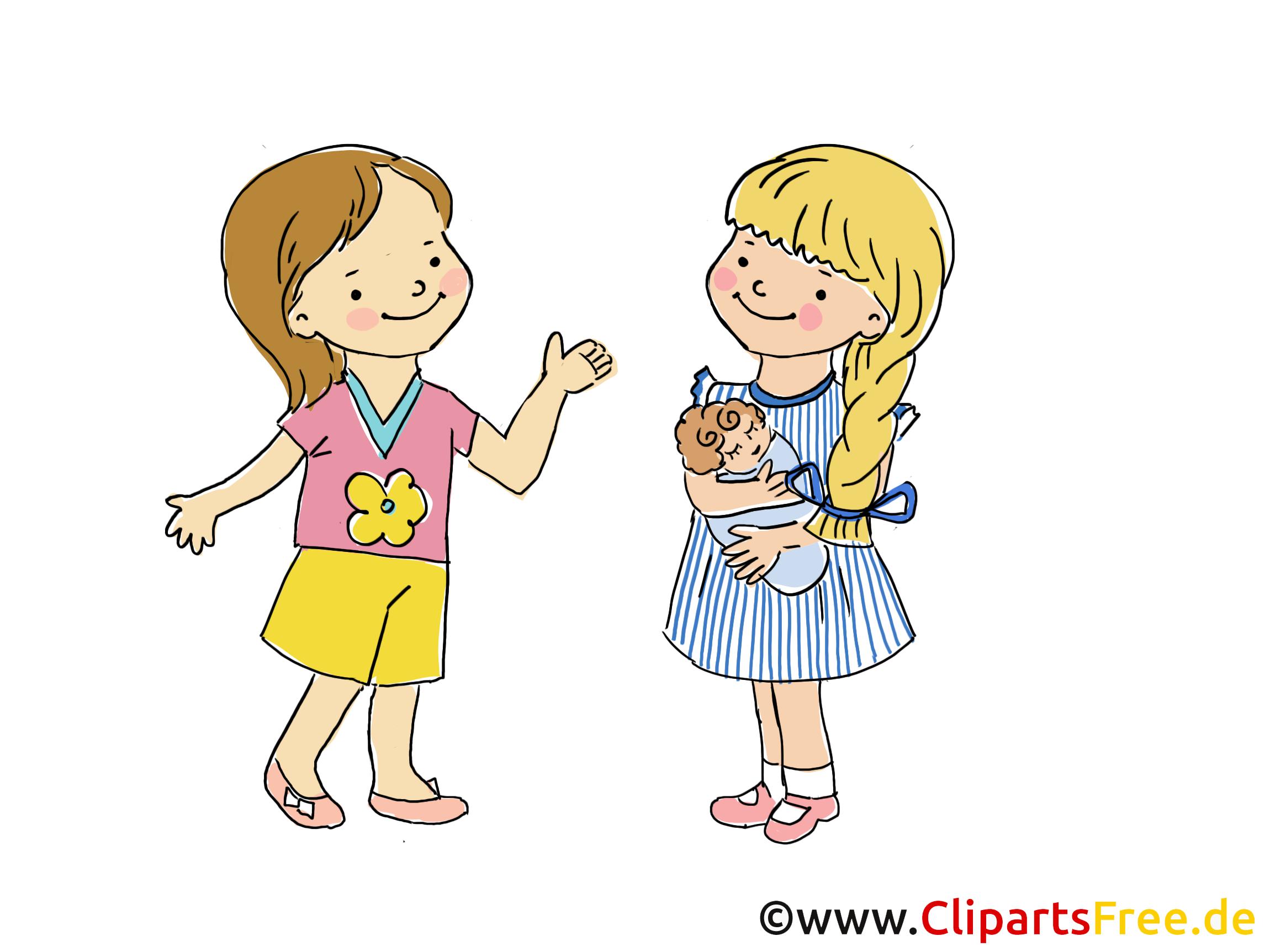 Gespr ch zwischen kindern bild clipart cartoon grafik gratis - Menschen malen lernen kindergarten ...