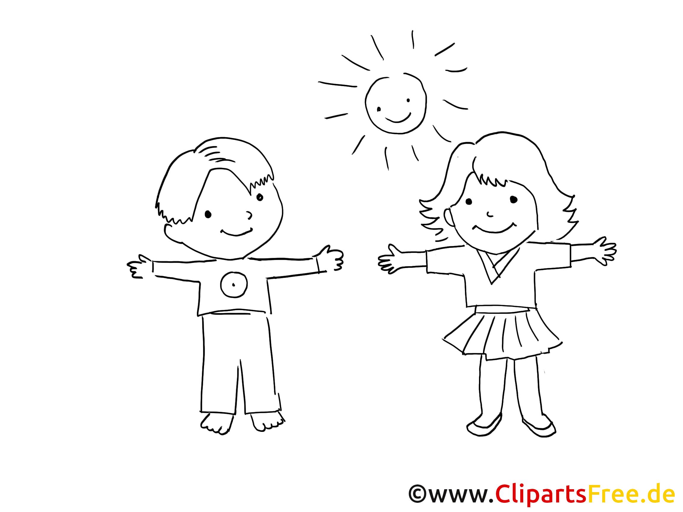 Schule clipart schwarz weiß  Kinder spielen im Garten Bild schwarz-weiss zum Ausmalen, Clipart ...