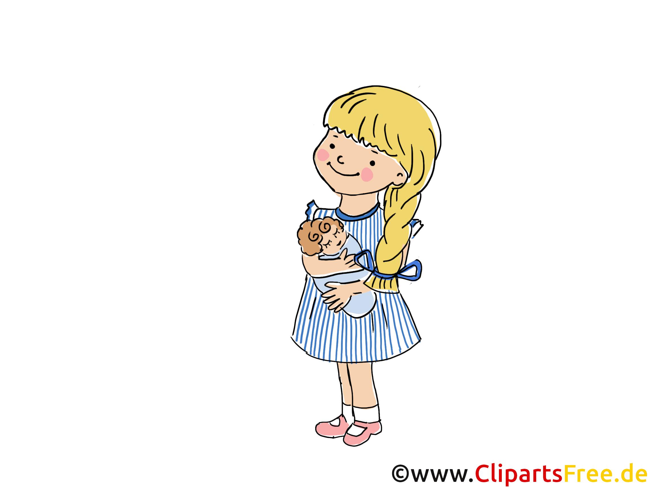 Kleines Mädchen in der Krippe Bild, Clipart, Cartoon, Grafik, Comic ...