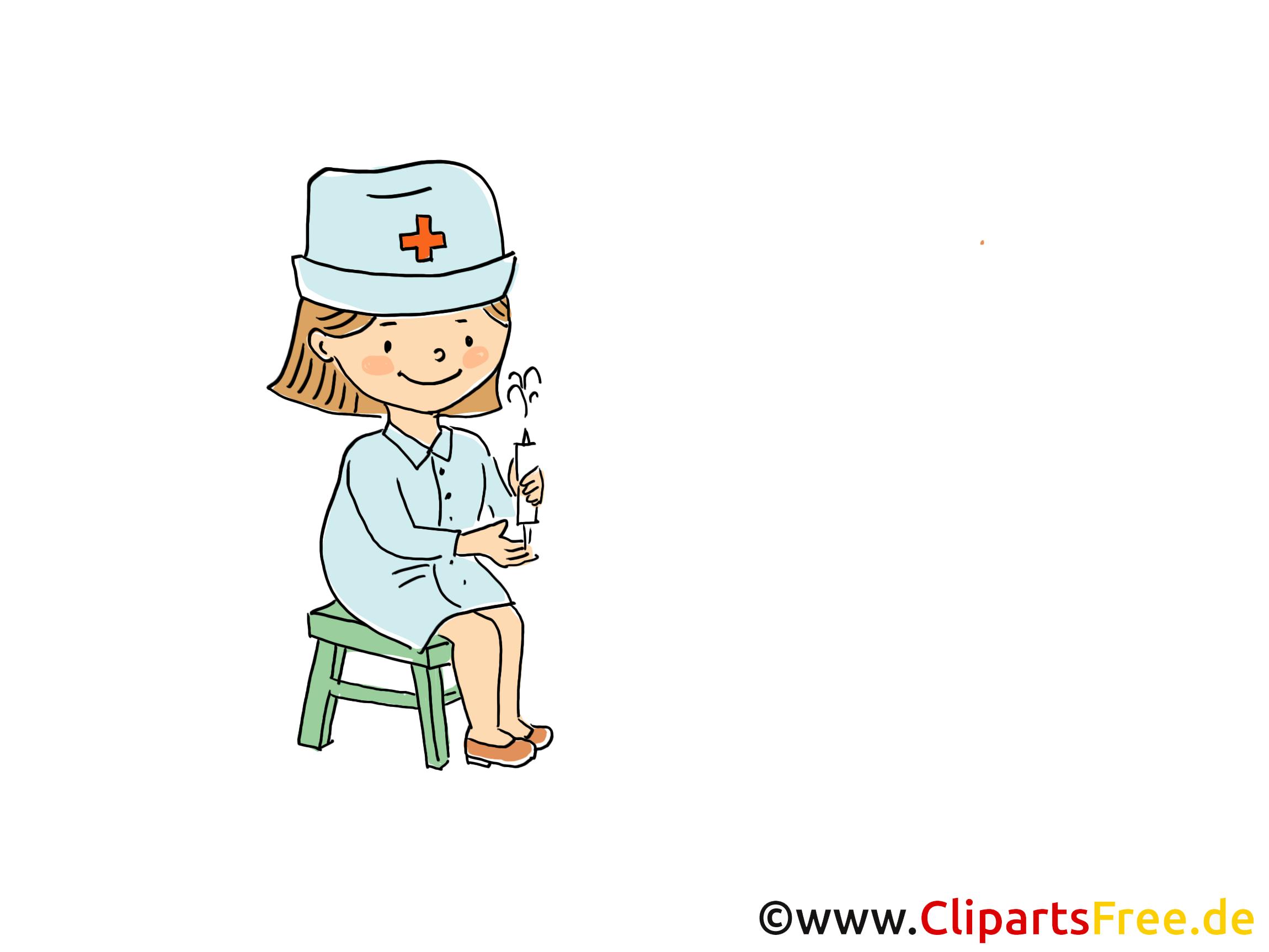 Krankenschwester im Kindergarten Bild, Clipart, Cartoon, Grafik ...