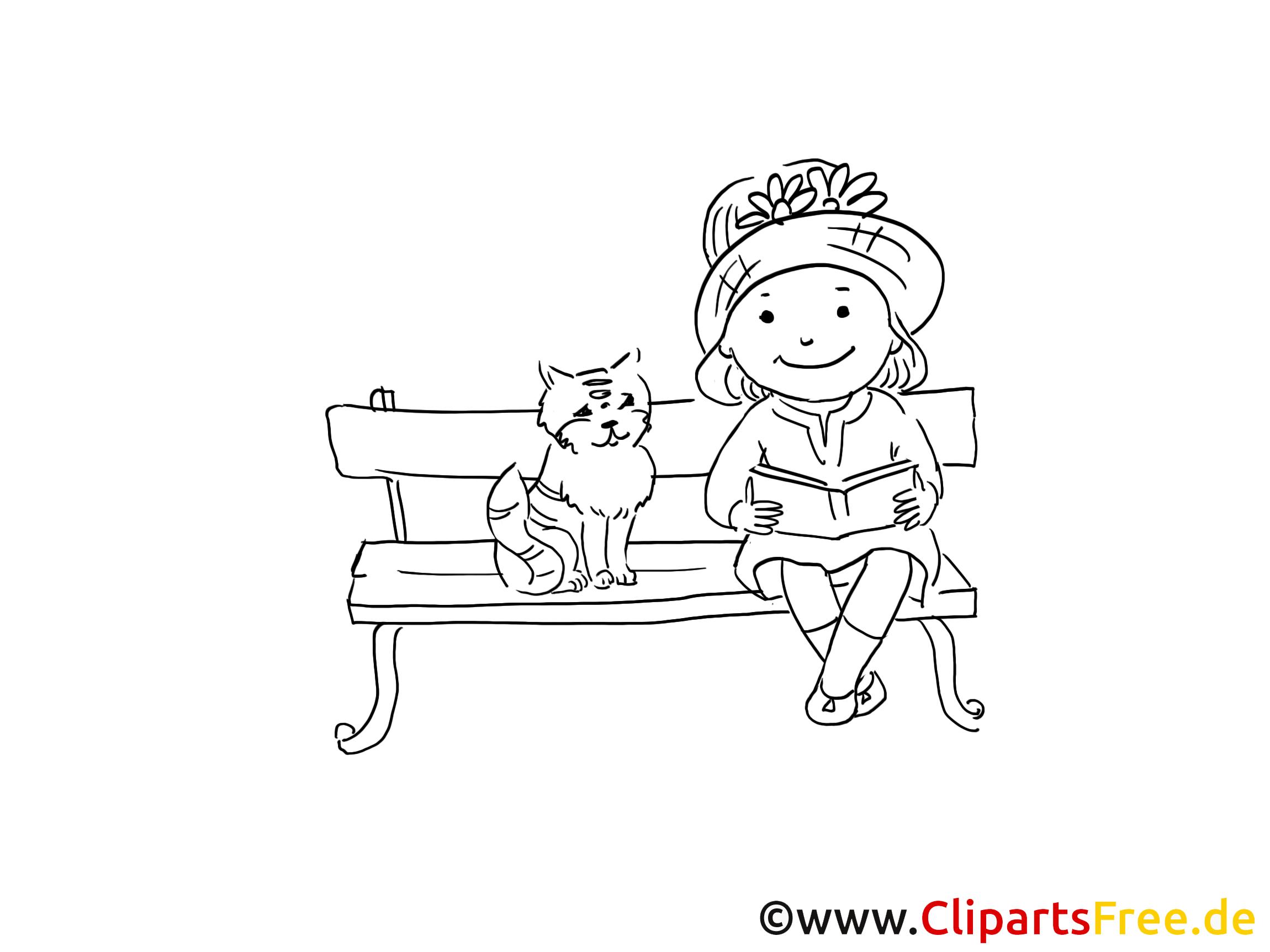 Madchen Und Katze Zeichnung Bild Schwarz Weiss Clipart Comic