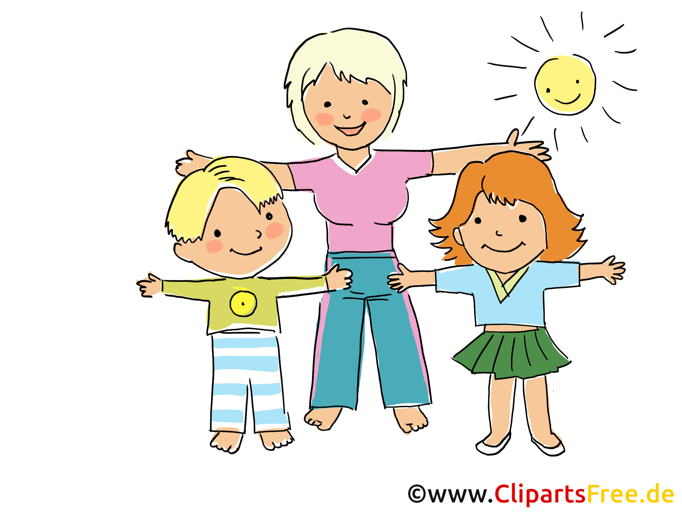 Turnen im Kindergarten Bild, Clipart, Cartoon, Grafik, Comic gratis