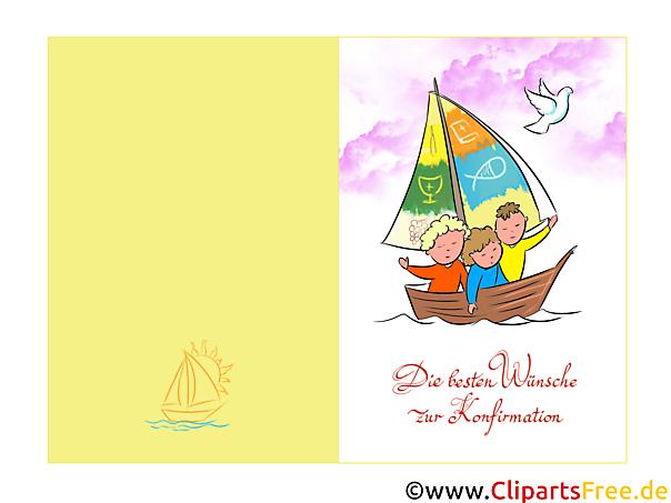 確認イラスト、クリップアート、二つ折りカード、Gluchwunsch