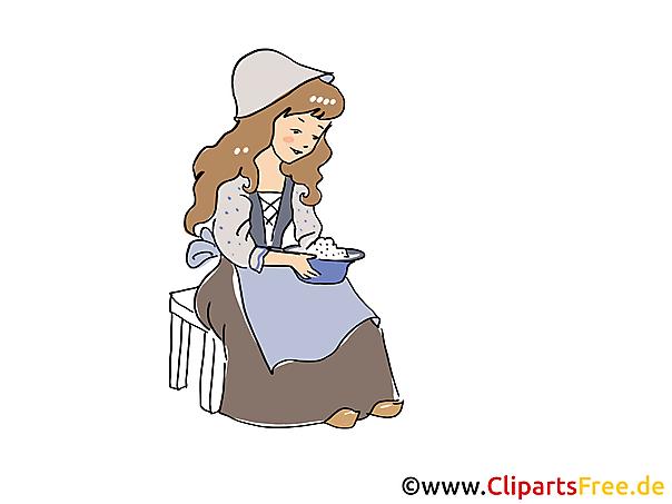 Assepoester sprookjesachtige illustratie, foto, illustraties