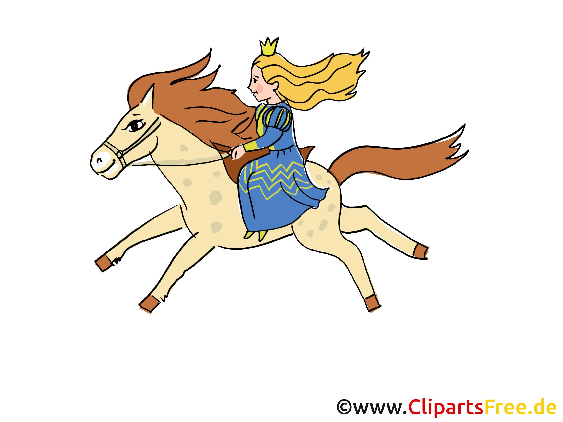 Prinses rijdt op het paard - afbeeldingen van sprookjesfiguren
