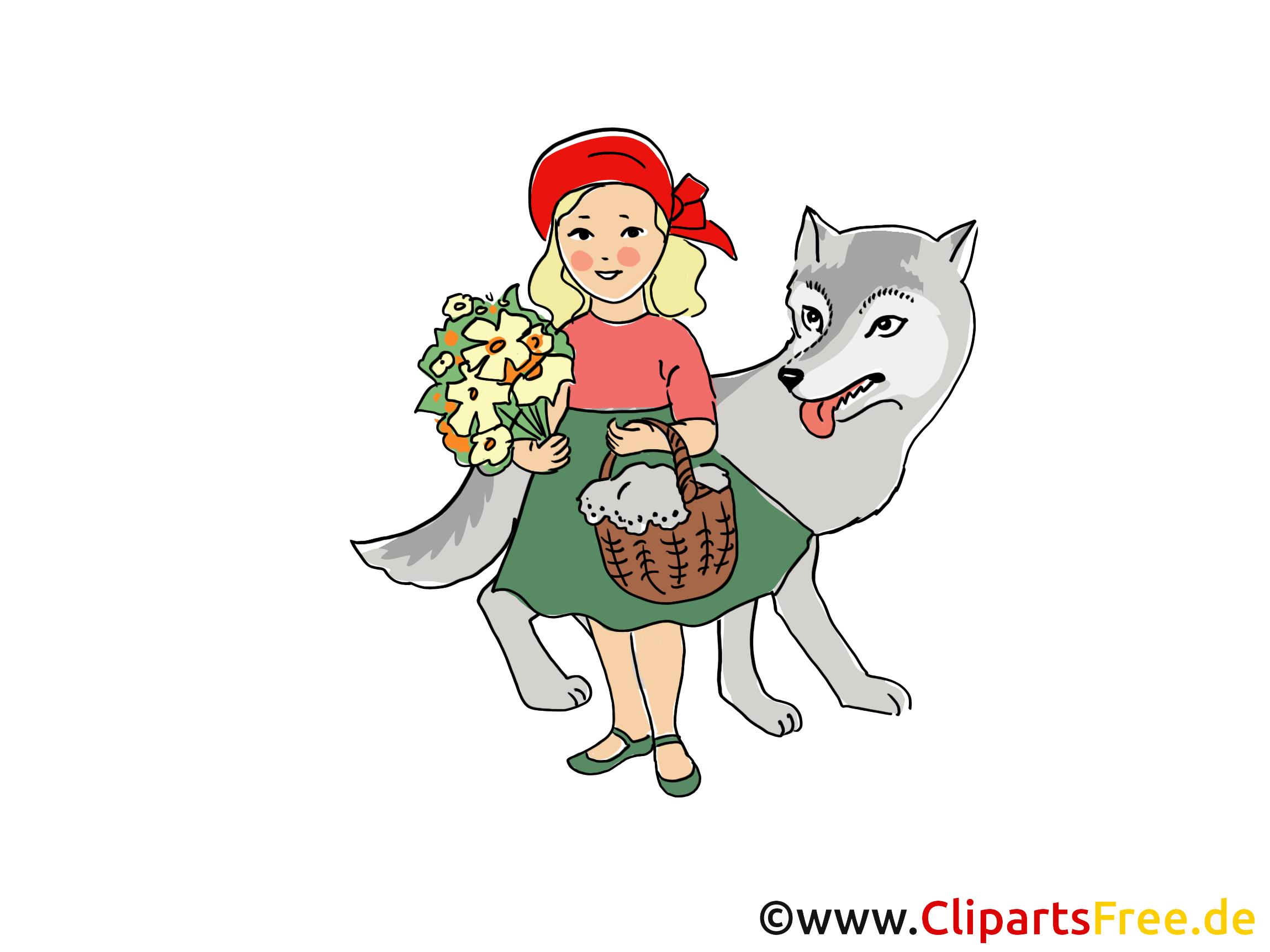 rottkäpchen und wolf märchen illustration bild clipart