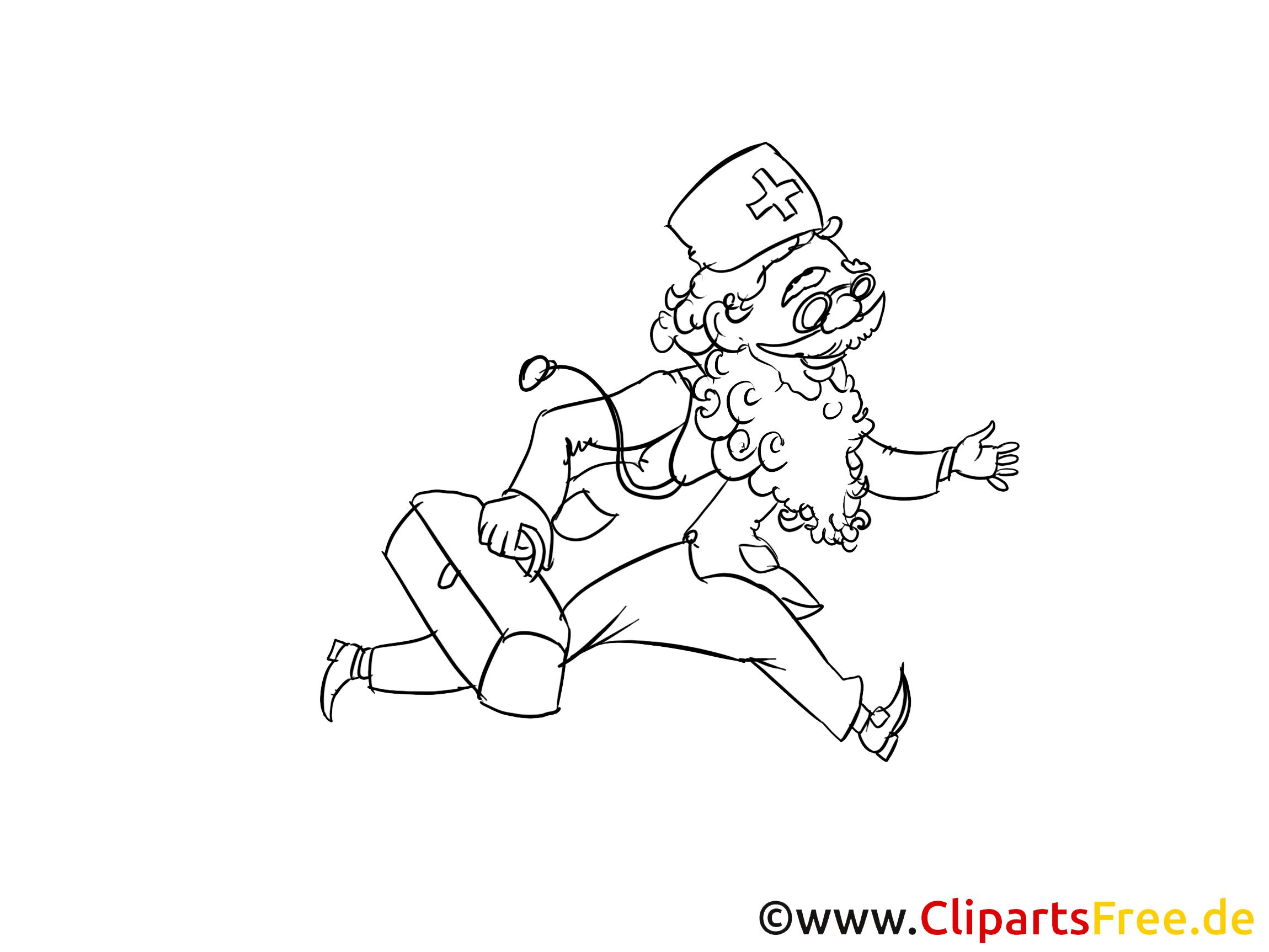 Arzt rennt zum Pazienten Zeichnung, Clipart, Bild