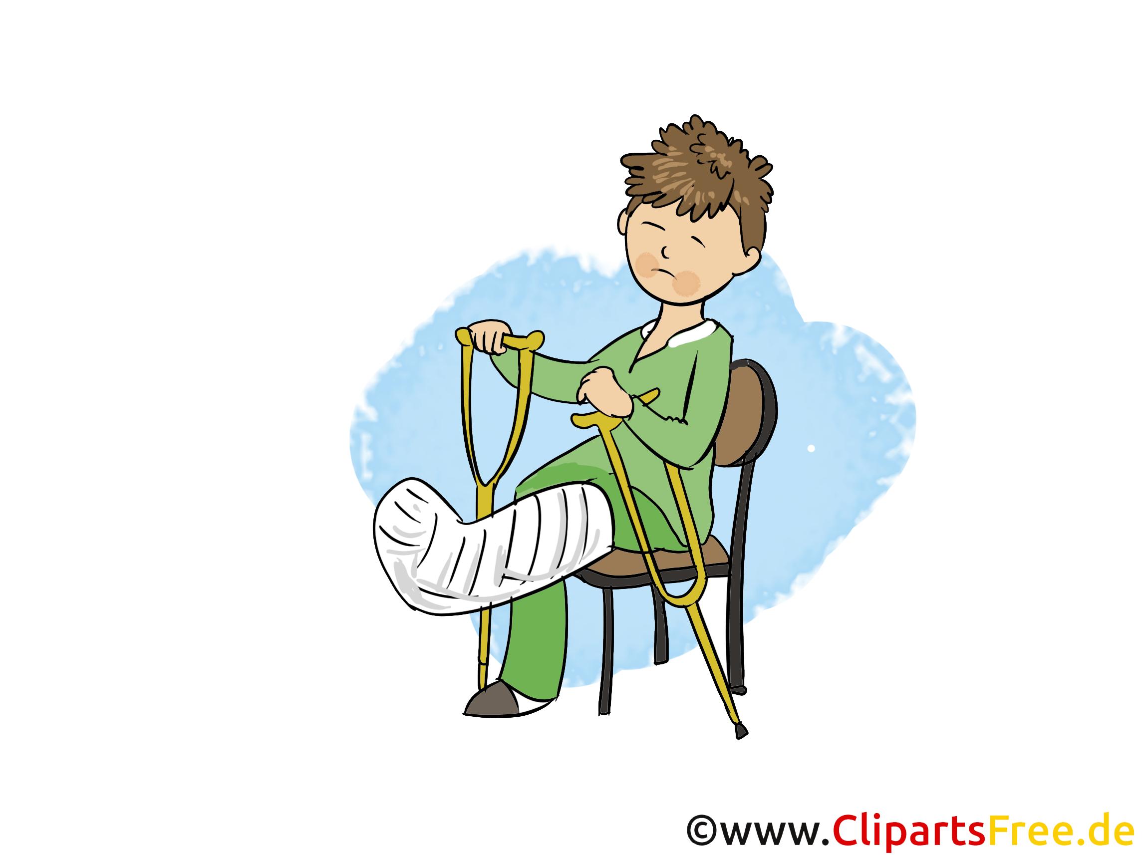 Junge mit gebrochemen Bein im Krankenhaus Clipart, Bild