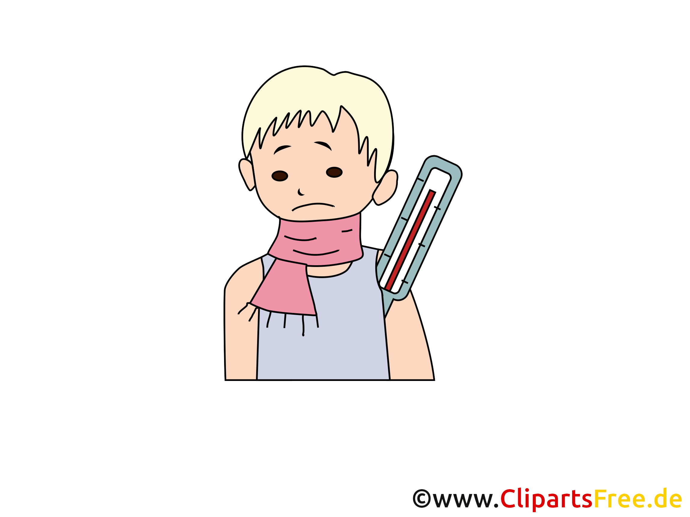 Krank, Fieber Clipart, Bild Medizin