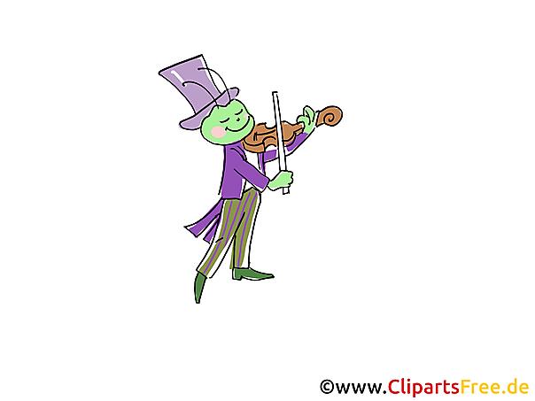Heuschrecken spielt Geige Comic, Cartoon, Clipart, Bild, Zeichnung, Illustration free