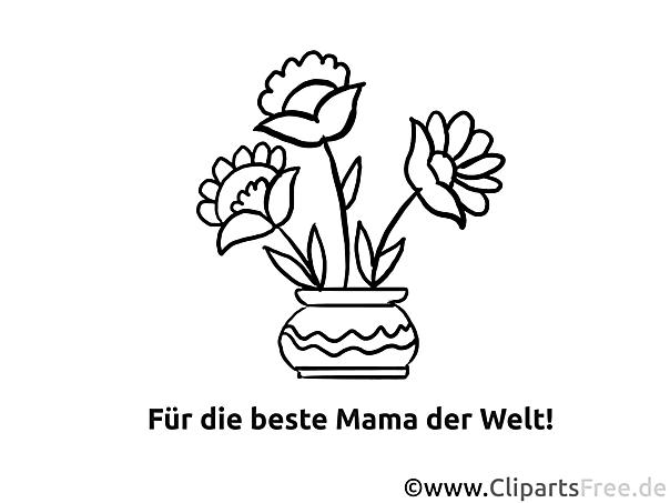 Bastelideen Muttertag - Grußkarten drucken, ausmalen, verschenken