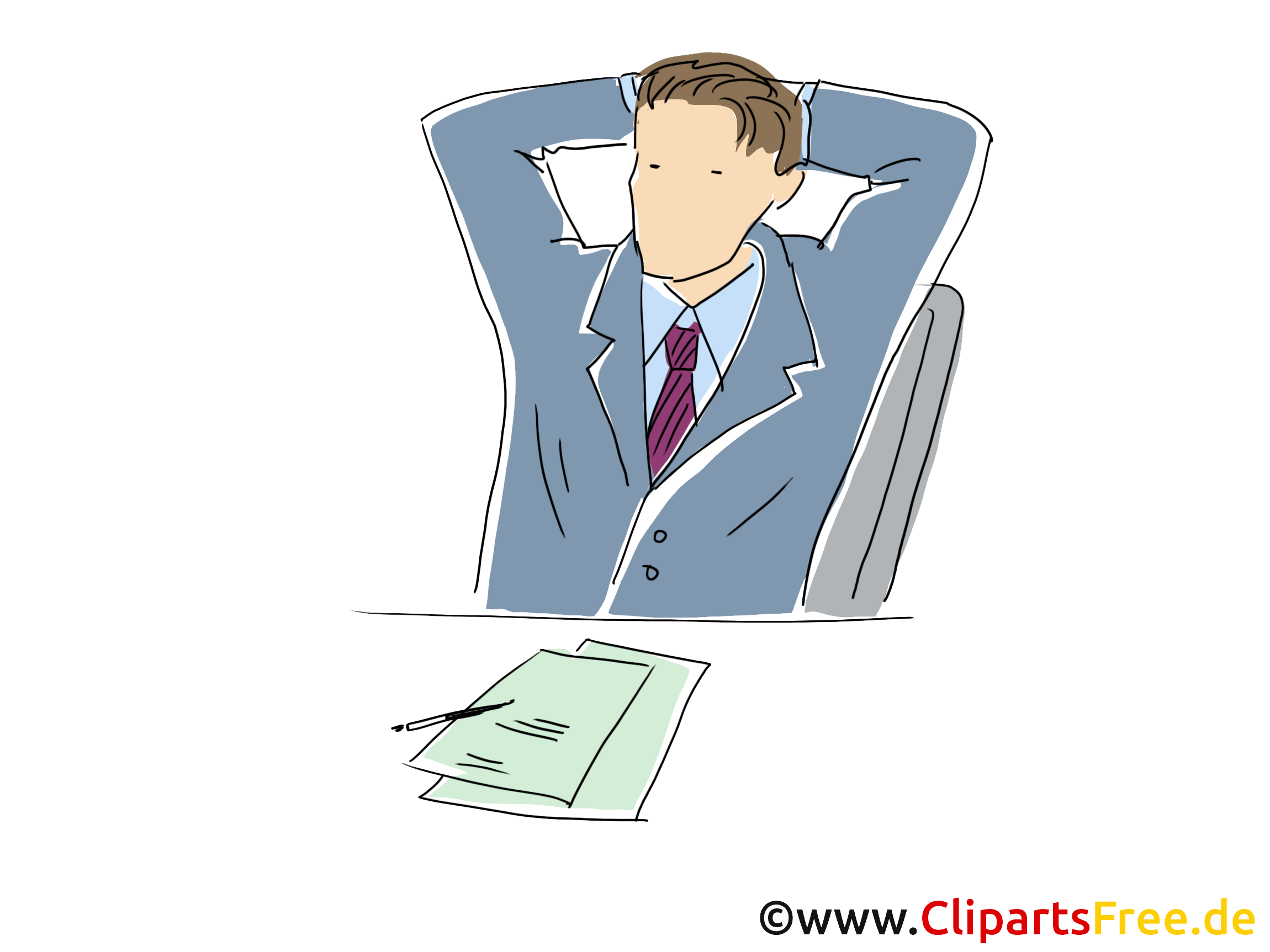 Entspannung am Arbeitsplatz Clipart, Grafik, Bild