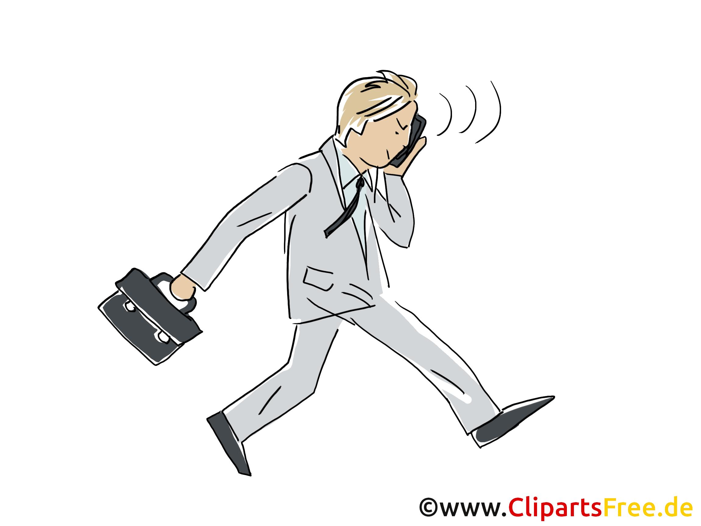 Geschäftsmann läuft und spricht per Handy Clipart, Bild
