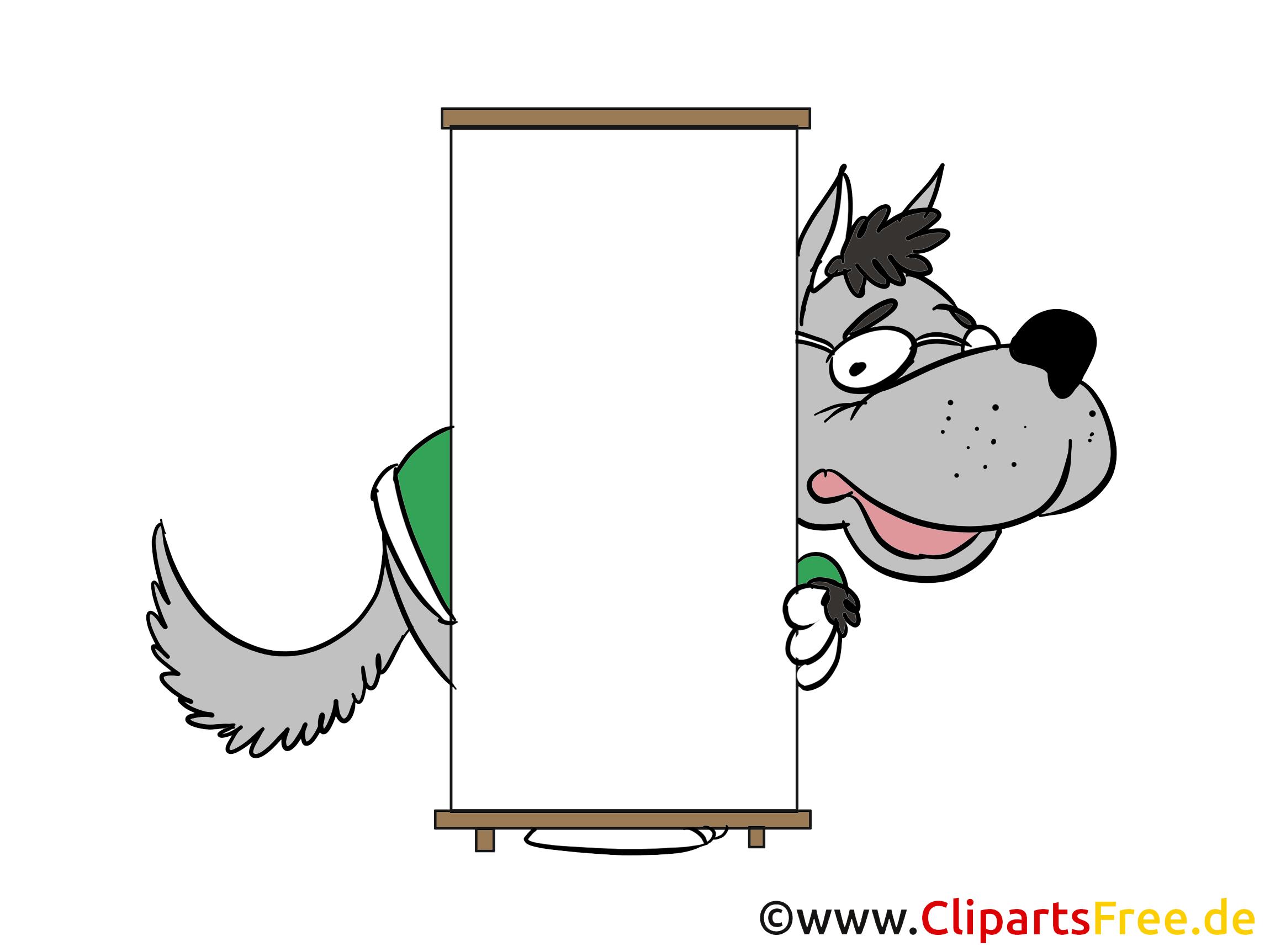 Wolf mit leerem Schild zum Beschriften Clipart, Bild, Cartoon