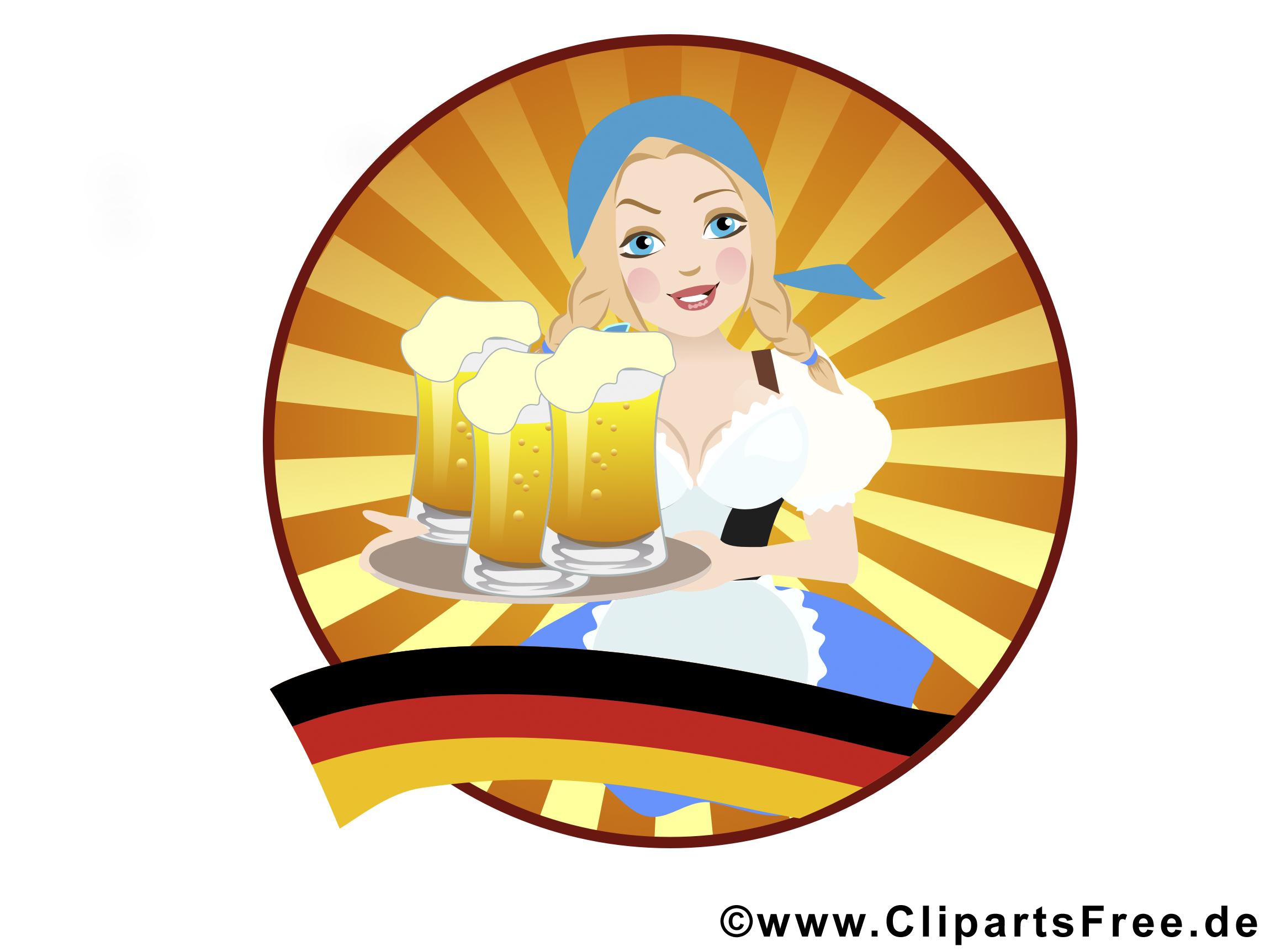 Oktoberfest Bedienung, Mädchen in Trachten mit Bier Bilder