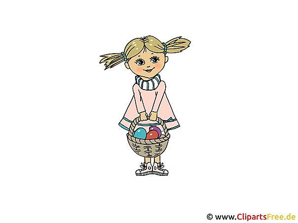 Clipart frei zu Ostern Mädchen