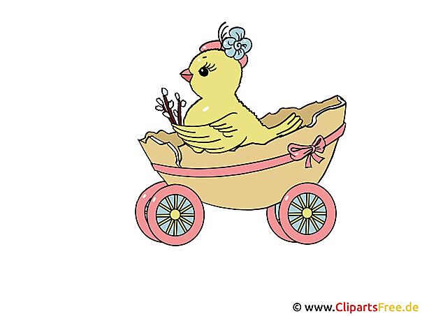 Clipart Ostern lustig - Küken im Wagen
