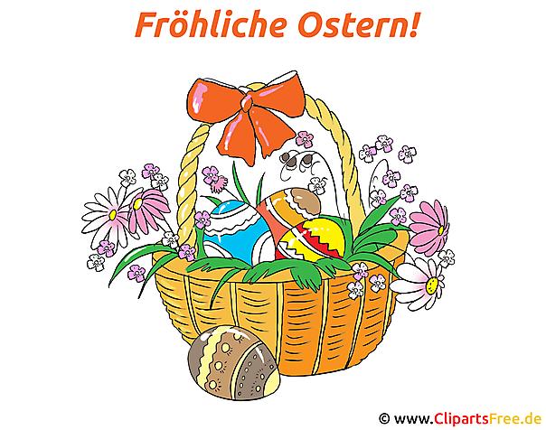 Froehliche Ostern - Karte mit Osterkorb