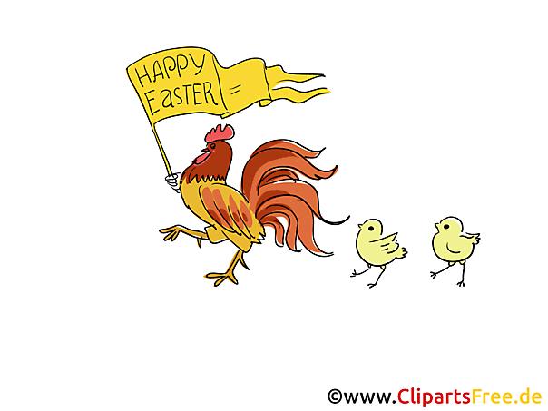 Huhn und Küken Bild-Clipart zu Ostern