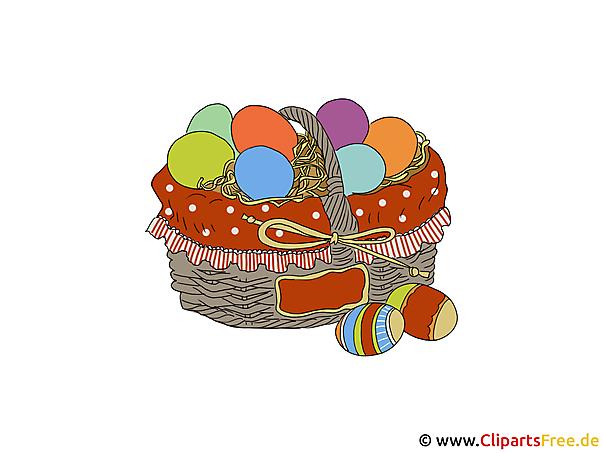 Mandje met paaseieren - Clipart voor Pasen
