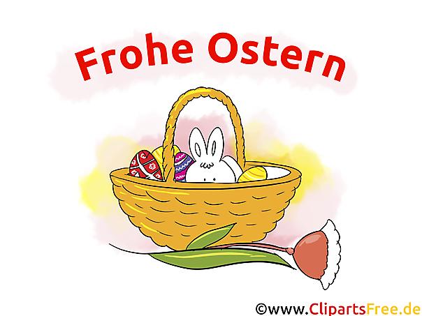 Osterbilder kostenlos - Frohe Ostern - Osterhase im Korb