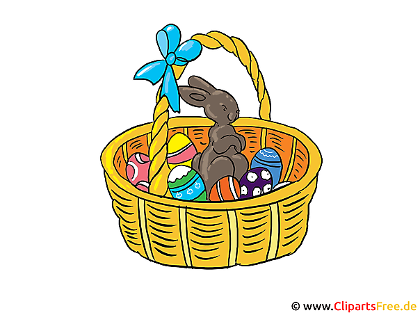 Osterkorb Clipart, Bild, Grusskarte, Illustration